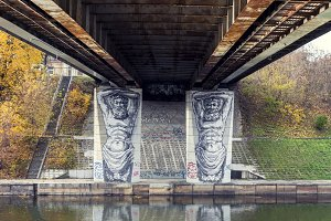Graffiti under a bridge