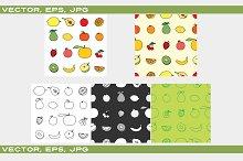Set of Fruit icon and background