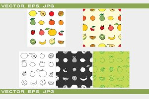Set of Fruit icon and background