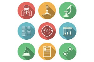 Bacteriology flat vector icons set
