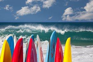 Surfboards in front of raging ocean