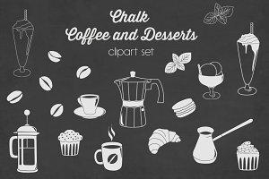 Chalkboard coffee desserts clipart