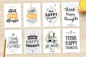 Inspirational quote, 8 cards set.