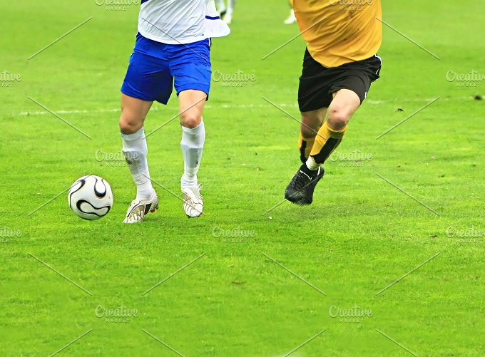 Soccer match. Two players view - Sports