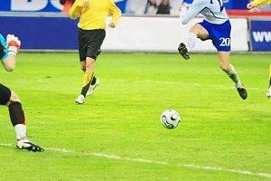 Flying soccer player