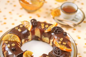 Marble Cake with chocolate glaze