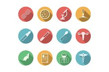 Biotechnology flat vector icons set
