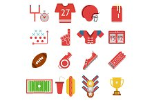 Flat color american football icons