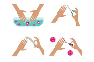 Steps manicure. Vector Illustration