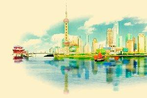 water color panoramic SHANGHAI