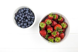 Fruit berries in bowls