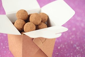 Chocolate Truffles in a brown box