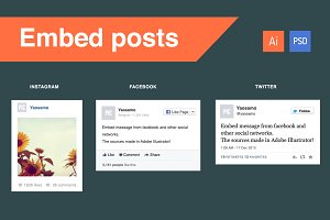 FB, Twitter & Instagram embed posts