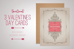 3 Valentines day flourishes cards