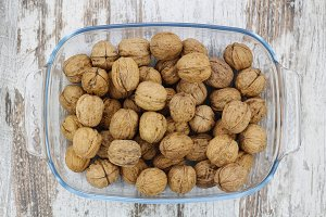 Walnuts in a glass tray