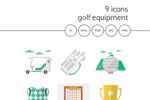 Golf flat vector icons. Part 1