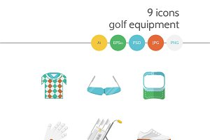 Golf flat vector icons. Part 2
