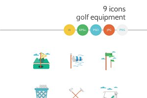 Golf flat vector icons. Part 3