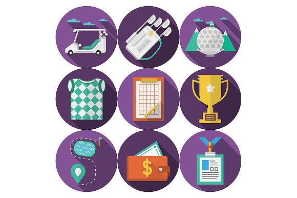 Purple flat icons for golf. Part 1 - Icons