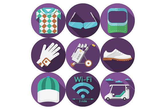Purple flat icons for golf. Part 2 - Icons