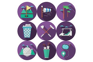Purple flat icons for golf. Part 3