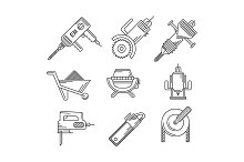 Construction tools line vector icons