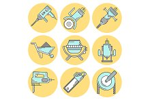 Construction flat style vector icons