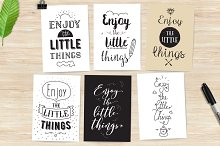 Inspirational quotes, 6 cards set.
