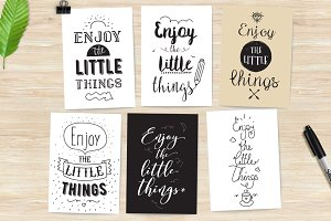 Inspirational quotes, 6 cards set.