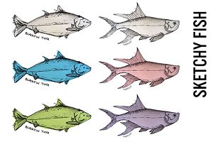 Sketchy Fish Illustrated Clipart