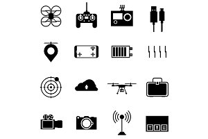 UAV accessories black vector icons
