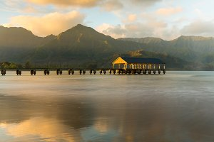 Sunrise over the Hanalei Pier Kauai