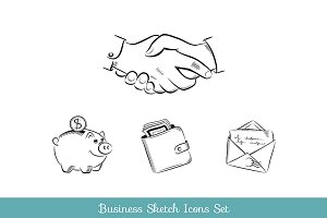 Business and finance sketch icon set