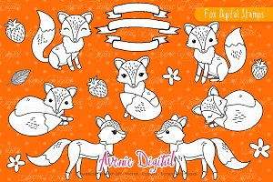 Cute Fox Digital Stamps