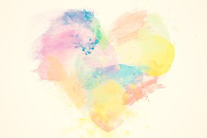 Colorful watercolor heart on canvas.
