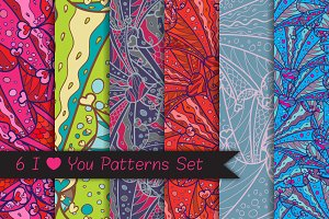 6 I Heart You Patterns Set