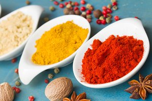 Spices on blue