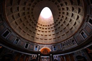 Inside the Pantheon in Rome, Italy.