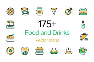 175+ Food and Drinks Icons Set