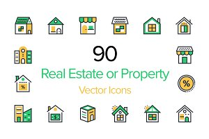 90 Real Estate or Property Icons