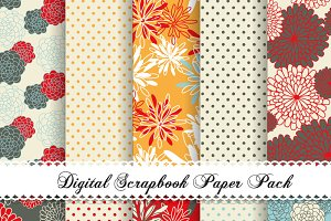 10 Floral Digital patterned paper