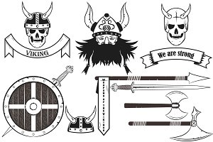 Viking Set. Skull, horned etc