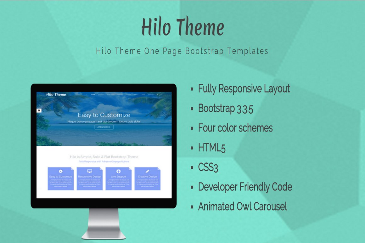 Hilo Theme - One Page Template ~ Bootstrap Themes ~ Creative Market