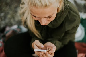 Hipster Girl on her Iphone