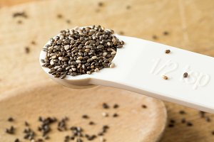 Black Chia seeds in measuring spoon