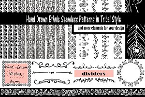 Hand-Drawn Ethnic Seamless Patterns