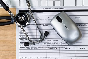 Desktop with Patient Medical Form