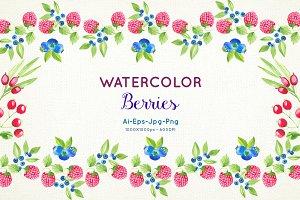 Watercolor Berries