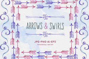 Watercolor Arrows and Swirls