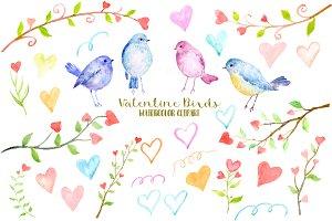 Watercolor Clipart Valentine Birds